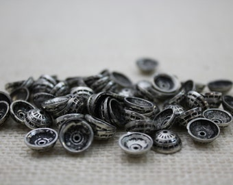 Vintage Antique Silver Bead Caps (14 Pieces)
