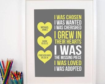 Adoption Print With Details - I Was Chosen Print - Adoptive Mother Gift - Adoption Shower - Nursery Decor - Nursery Art