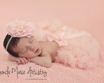 Pink Flower Headband Chiffon Flower Rosette Light Pink Headband with Big Pearl Center Gold Elastic Baby Girl Toddler Girl