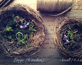 Bird Nest Wedding Ring Holder Bearer / Will You Marry Me / Marriage Proposal / Vintage Shabby Chic Country Rustic Decorations