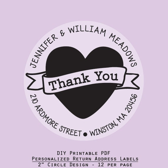 Items Similar To Printable Thank You Heart, Personalize