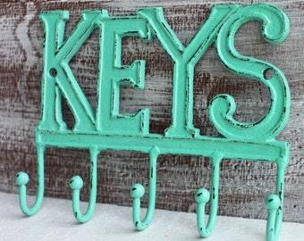 Key Hook, Key Holder, Aqua / Turquoise Green, Keys Rack, Key Rail, Wall Hook Metal Cast Iron Hooks Entryway Key Hanger