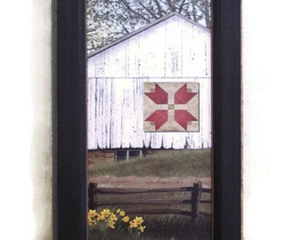 Spring Day, Barn Picture, Art Print, Country Home Decor, Framed Print, Wall Hanging, 20X8 Handmade, Custom Wood Frame, Made in the USA