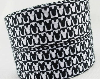 5 YDS Black and White Mickey Head Ribbon
