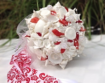 Beach Wedding, Valentine Wedding,  Seashell Bouquet, Red White Wedding ,Beach Bouquet
