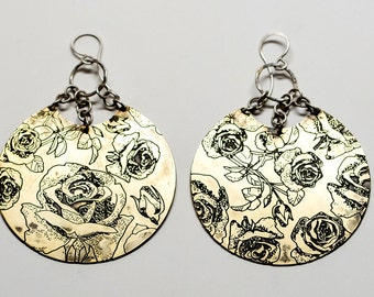 Rose Disc Floral earrings