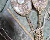 RESERVE FOR WEDAD Vintage Apollo Studios Dresser Set Gilt Filigree And Bezel Set Guilloche Enamel Rose Medallions