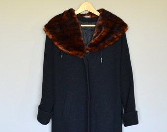 Vintage 60s Faux Fur Collared Oversized Wool And Cashmere Coat