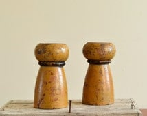 Salvaged Furniture Legs. Mustard & Black Chunky Chippy Painted Primitives. Rustic Found Objects for Book Shelf Decor, Coffee Table Decor.