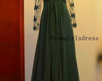 Prom dress, Lace Prom Dress, Evening Gown, Prom Dress with Sleeves, Green Prom Dress,Womens Formal Evening dresses, Long Sleeve Evening Gown