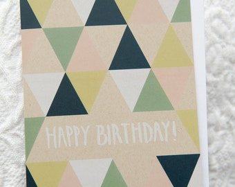 Set of 6 Geometric Happy Birthday Card, 4.25x5.5, White Envelope, Blank Inside, Handlettered