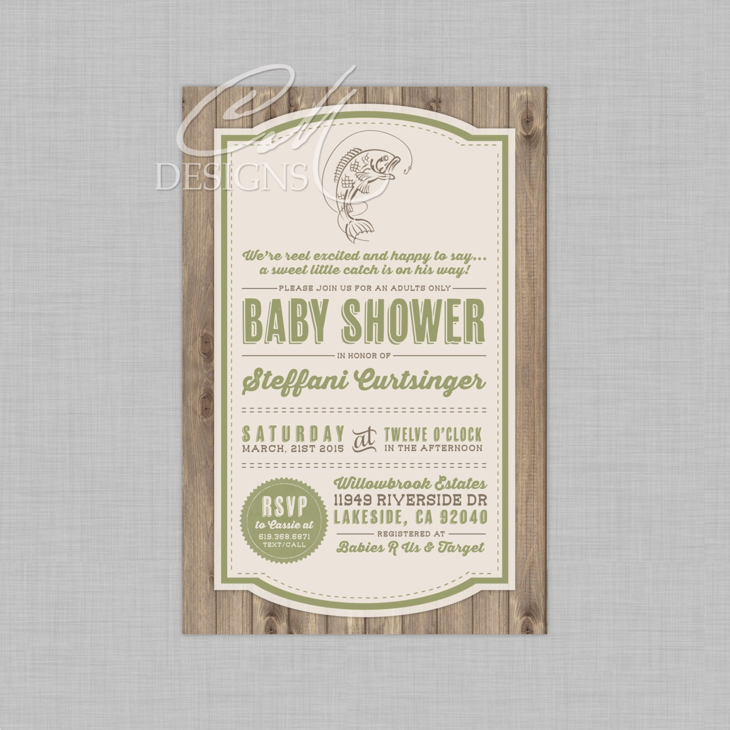 fishing fish theme baby shower invitation by designsbycassiecm