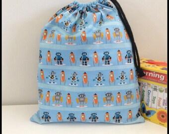 Robot Library bag, Boys Drawstring bag, spaceship kids toy bag, Swimming bag, good size for books, snacks, clothes, spare shoes, pyjama bag