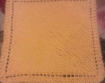 100% Cotton Hand Knitted Washcloth - Very Soft in Buttercup