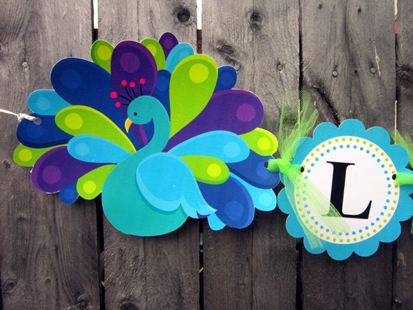peacock banner peacock baby shower banner peacock birthday