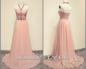 2015 Pink halter evening dress prom dress , bridesmaid dress long , bridesmaid dress chiffon