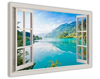 "Lake Mountains and Forests 3D Window Bay Effect Photo on framed Canvas Print Wall Art Pictures Artwork Posters Size:30"" X 20"" (76CM X 50CM)"