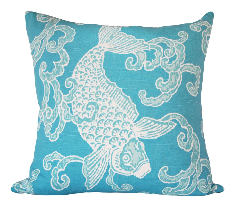 Kravet Turquoise Asian Fish Throw Pillow Cover by PillowTimeGirls