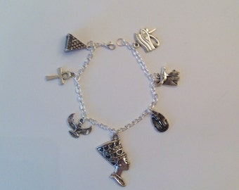 Egyptian Themed Charm Bracelet, Mythology, History, Cleopatra, Pharaoh