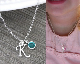 Personalized Kids Jewelry, YOU CHOOSE Initial Birthstone, Cute Little Girl Necklace, Necklace for Niece, Granddaughter, Little Girl, CLB