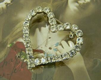 Vintage RHINESTONE HEART BROOCH Pin Sparkly 1950s