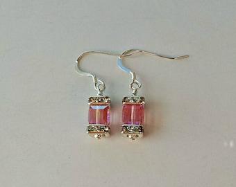Swarovski Crystal  Breast Cancer Awareness Earrings