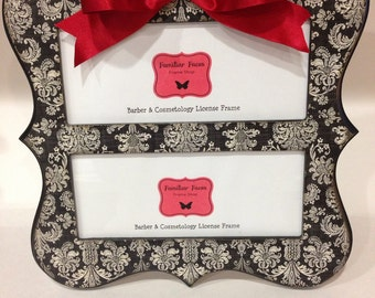 double barber cosmetology license frame black ivory damask with red bow fits 2 8 12 x 3 58 business certificat