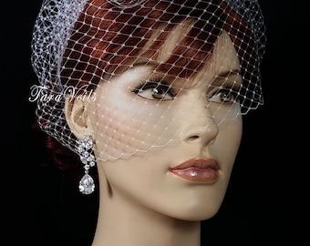 Birdcage veil, Birdcage Wedding veil, Bridal Veil, Bridal Birdcage Veil, Russian Knitting  Top comb birdcage Veil, facinator