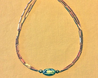 Copper and multicolored glass bead necklace