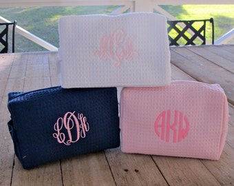 Cosmetic Bag- Cotton Waffle weave with Monogram