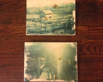 Bridge by house. Collection of two Original Polaroid prints on wood.