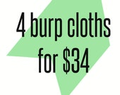 4 cotton chenille burp cloths for 34 MIX & MATCH-Super Absorbent Cotton Chenille, Burp Rag, spit up cloth, burp pads, baby shower gift
