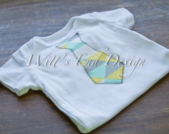 READY to SHIP Baby Boy TIE applique Onesie-On Point Minty Triangles