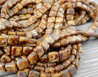 CzechMates TILE Beads, Opaque IVORY PICASSO, 2 hole, 6 mm, Czech Glass Tiles, Qty 25, Great Earthy Leather Wrap Beads