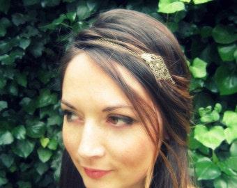 "Headband ""Lison"" Bohemian bronze print and chains"