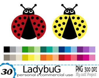 Ladybug Clipart - 30 PNG files - 300 dpi - Instant download - Transparent PNG - Graphic design, scrapbooking - CA2