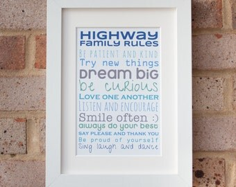 Family Rules, Personalised - Giclée print