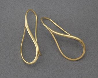 Teardrop Hook Earring . Earring Component . 16K Matte Gold Plated over Brass  / 2 Pcs - GC107-MG