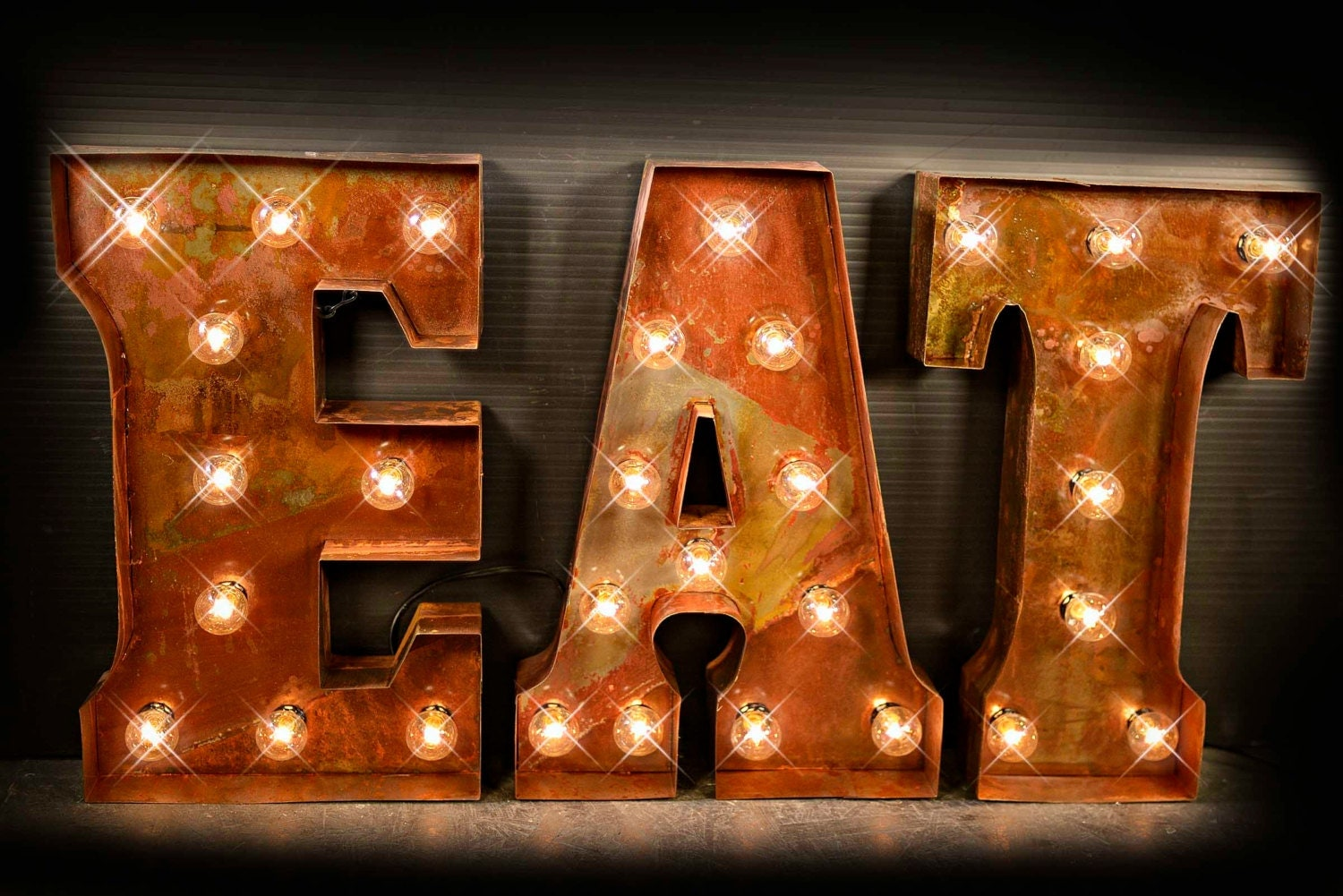 Eat Letter Eat Sign Cafe Sign Lighted Metal Marquee Sign