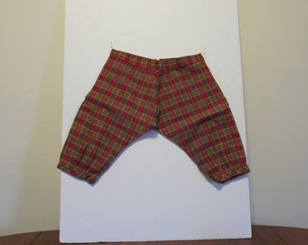 5 dollar Summer SALE Vintage Victorian Edwardian 1890s 1900s boy's knee pants knickers red green plaid cotton NOS