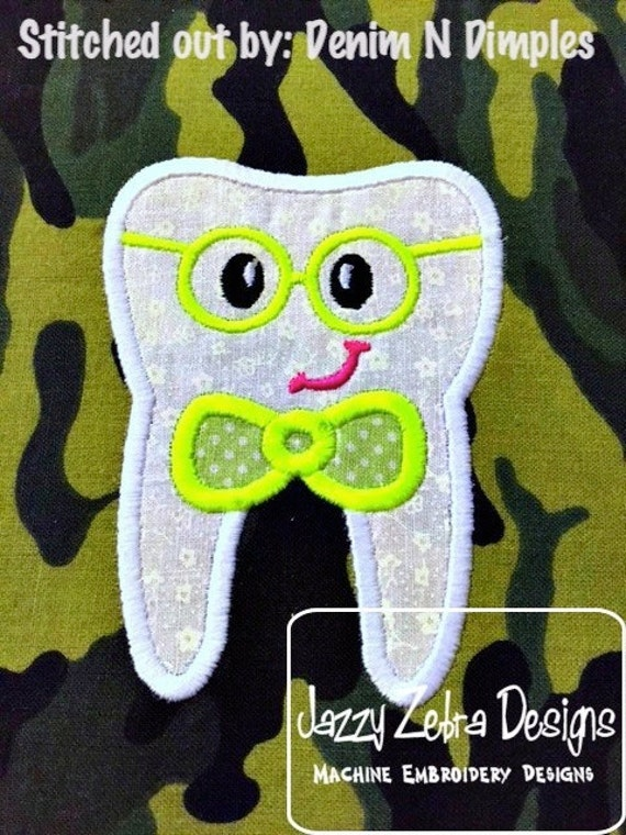 Tooth Boy Face wearing eye glasses Appliqué embroidery Design - tooth Appliqué Design - boy Appliqué Design - tooth fairy Appliqué Design