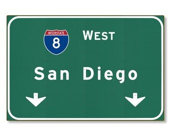 San Diego Highway Sign Steel Wall Decor Souvenir Automotive Road Travel Replica California ca Interstate METAL not tin 36x24 FREE SHIPPING