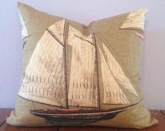 Nautical Sailboat Throw Pillow