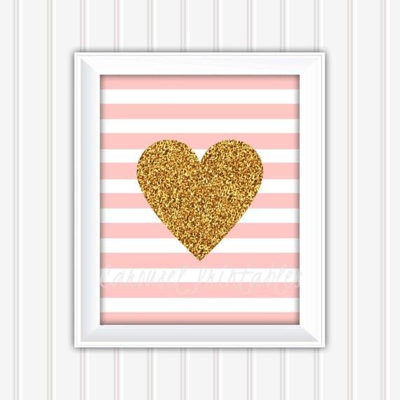 Gold Glitter Wall Decor : Gold glitter heart wall art pink and printable