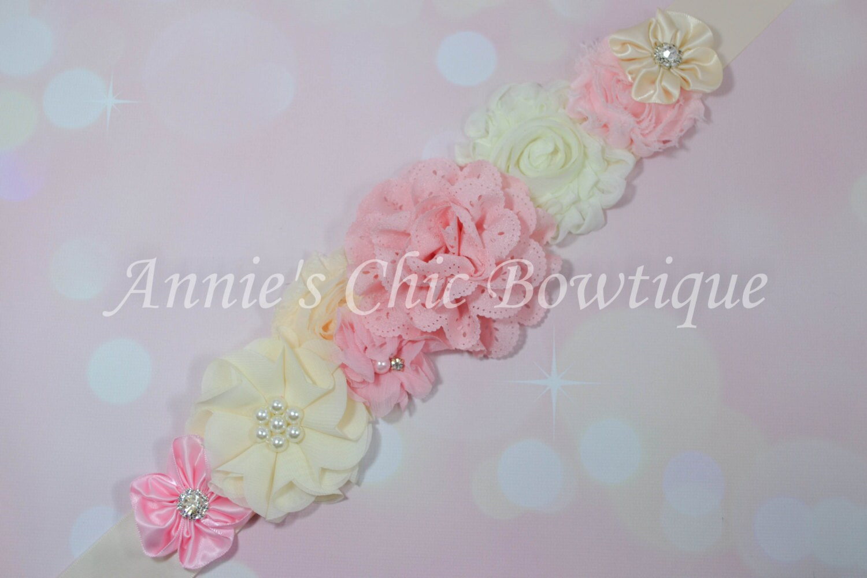 big sale pink and ivory maternity sash baby shower sash its