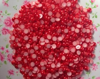 Red Half Pearl Flatbacks 6MM - 300pcs