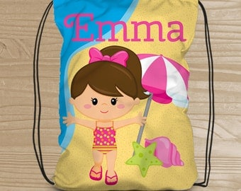 Personalized Drawstring Backpack for Kids - Beach Backpack for Girls - Kids' Beach Fabric Bag - Beach Drawstring Backpack