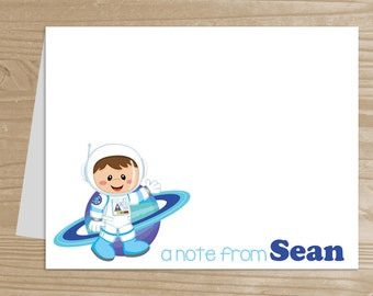 Personalized Kids' Note Cards - Set of 10 Astronaut Notecards for Boys - Folded Note Cards with Envelopes - Custom Astronaut Notecards