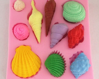Shell Fondant Mold Polymer Silicone Polymer Clay mold Resin mold Clay mold  Flexible Silicone Mould