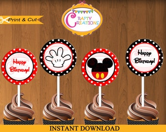 "Mickey Mouse Cupcake Toppers - Printable 2"" Party Circle - Mickey Birthday Party Cupcake Toppers- INSTANT DOWNLOAD - CraftyCreationsUAE"